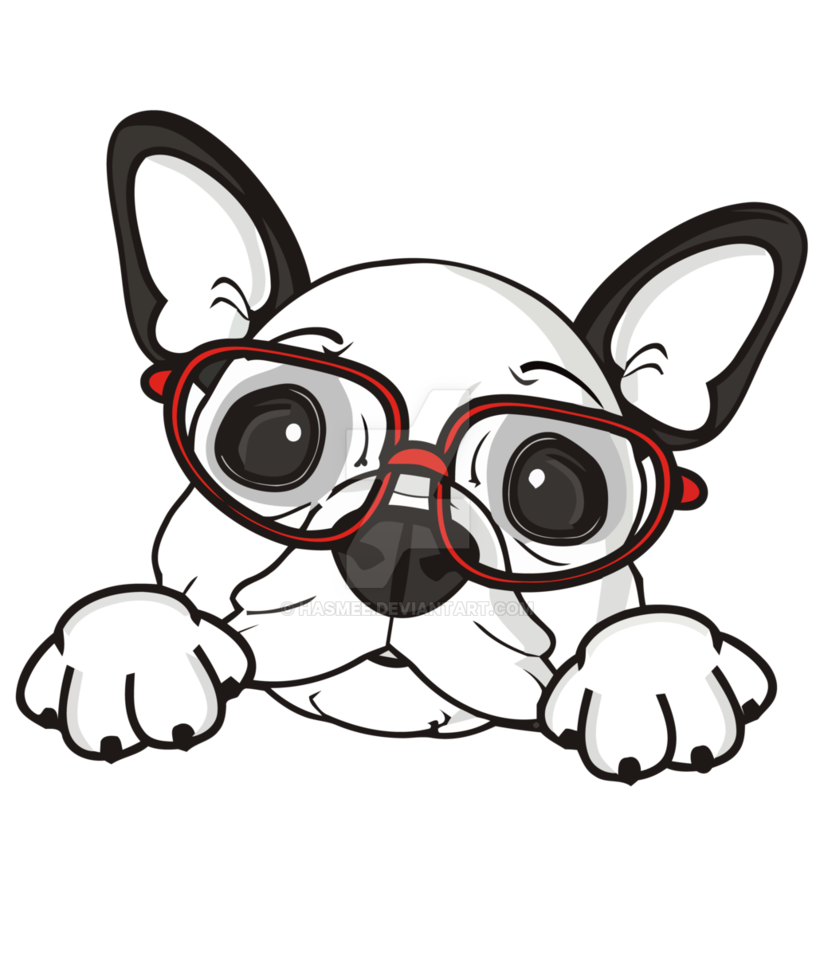 french bulldog black and white clipart.