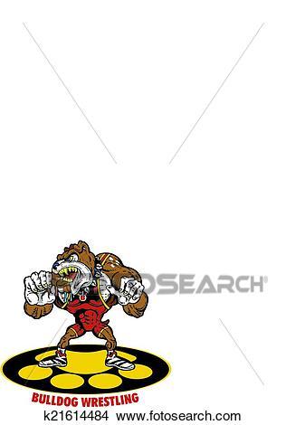 Bulldog wrestler Clipart.