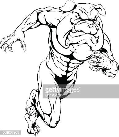 Bulldog sports mascot running Clipart Image.