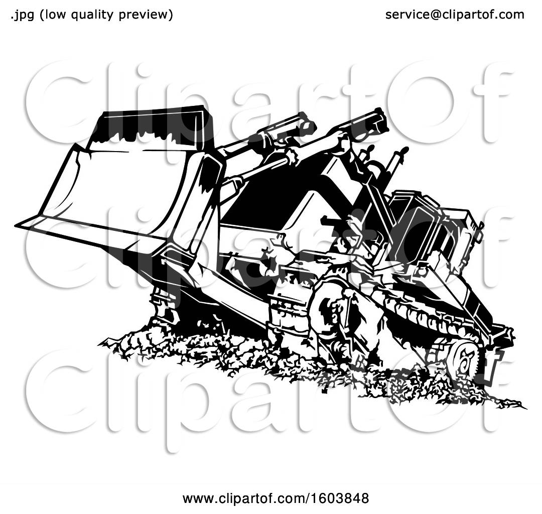 Clipart of a Black and White Bulldozer.
