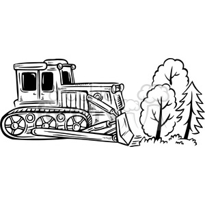 bulldozer destroying a forest clipart. Royalty.