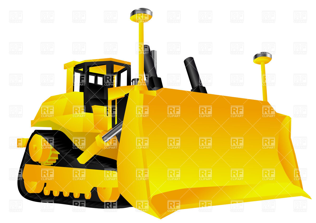Bulldozer isolated on a white background Stock Vector Image.