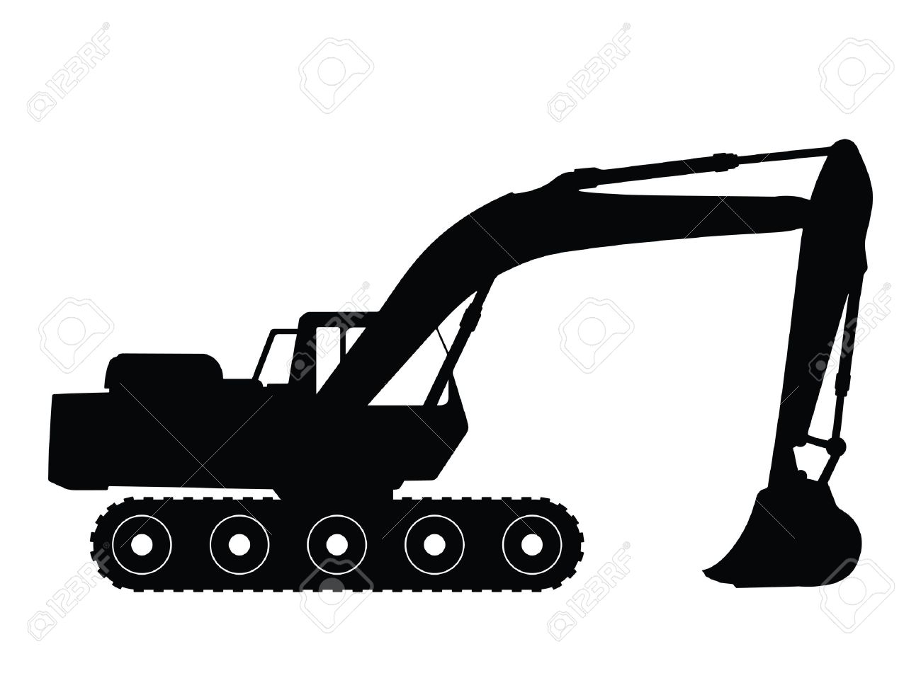Silhouette Big Excavator, Vector Illustration Stock Photo, Picture.