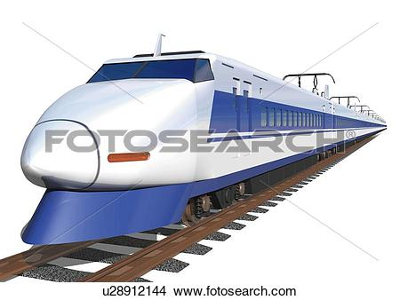 Drawings of Image of a Bullet Train on a Brown Rail, Side View.
