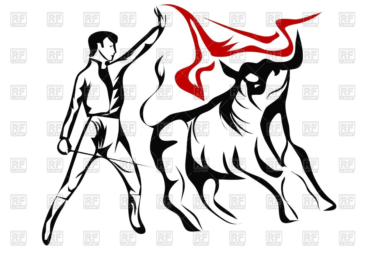 Outline of bullfighter and bull Vector Image #66373.