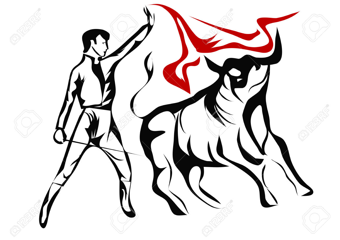 Spanish Bullfighter. Abstract Silhouette Isolated On A White.