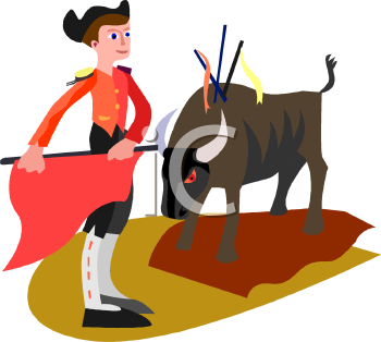Bullfighting clipart.