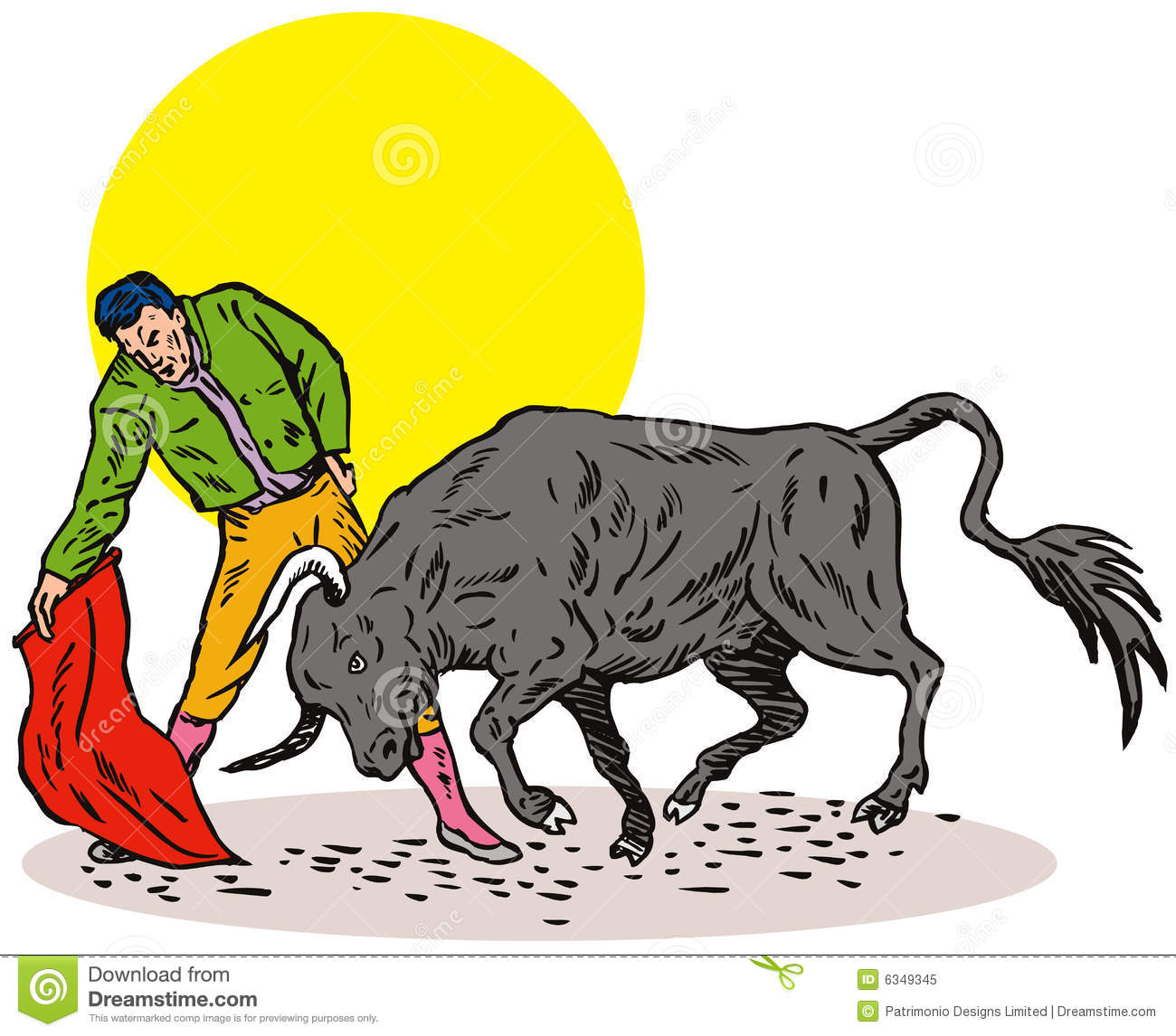 Bull fighting clipart.