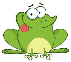 Bullfrog with tongue out clipart.