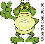 Clipart of a Happy Bullfrog Giving a Thumb up.