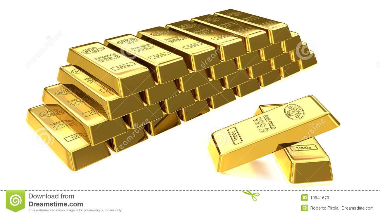 Gold Bullion Stock Photo.