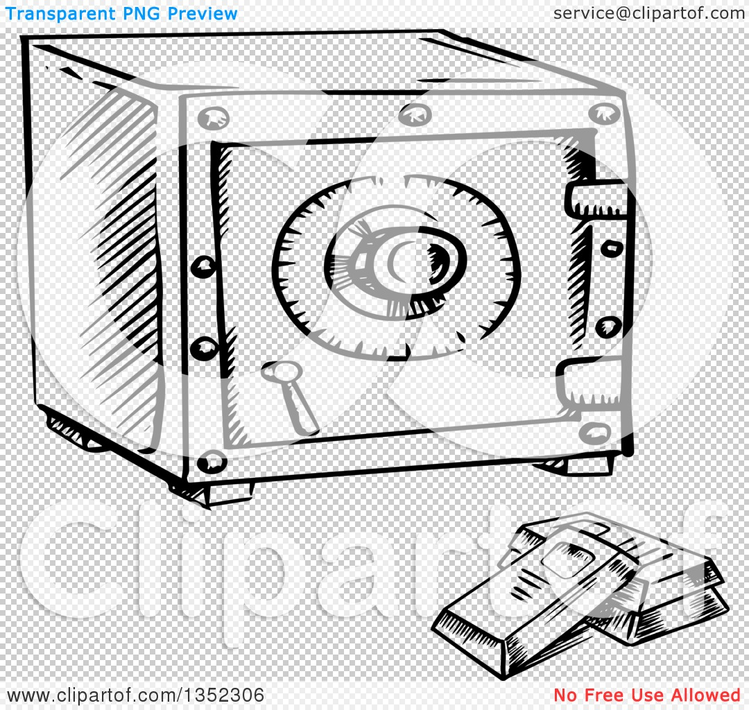 Clipart of a Black and White Sketched Safe and Bullion Gold Bars.