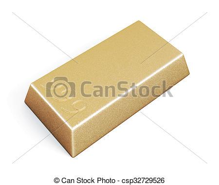Clip Art of Gold bullion bars isolated on white background. 3d.