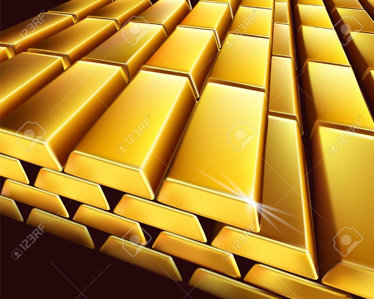 Stack Of Gold Bullions. Vector Illustration. Royalty Free Cliparts.