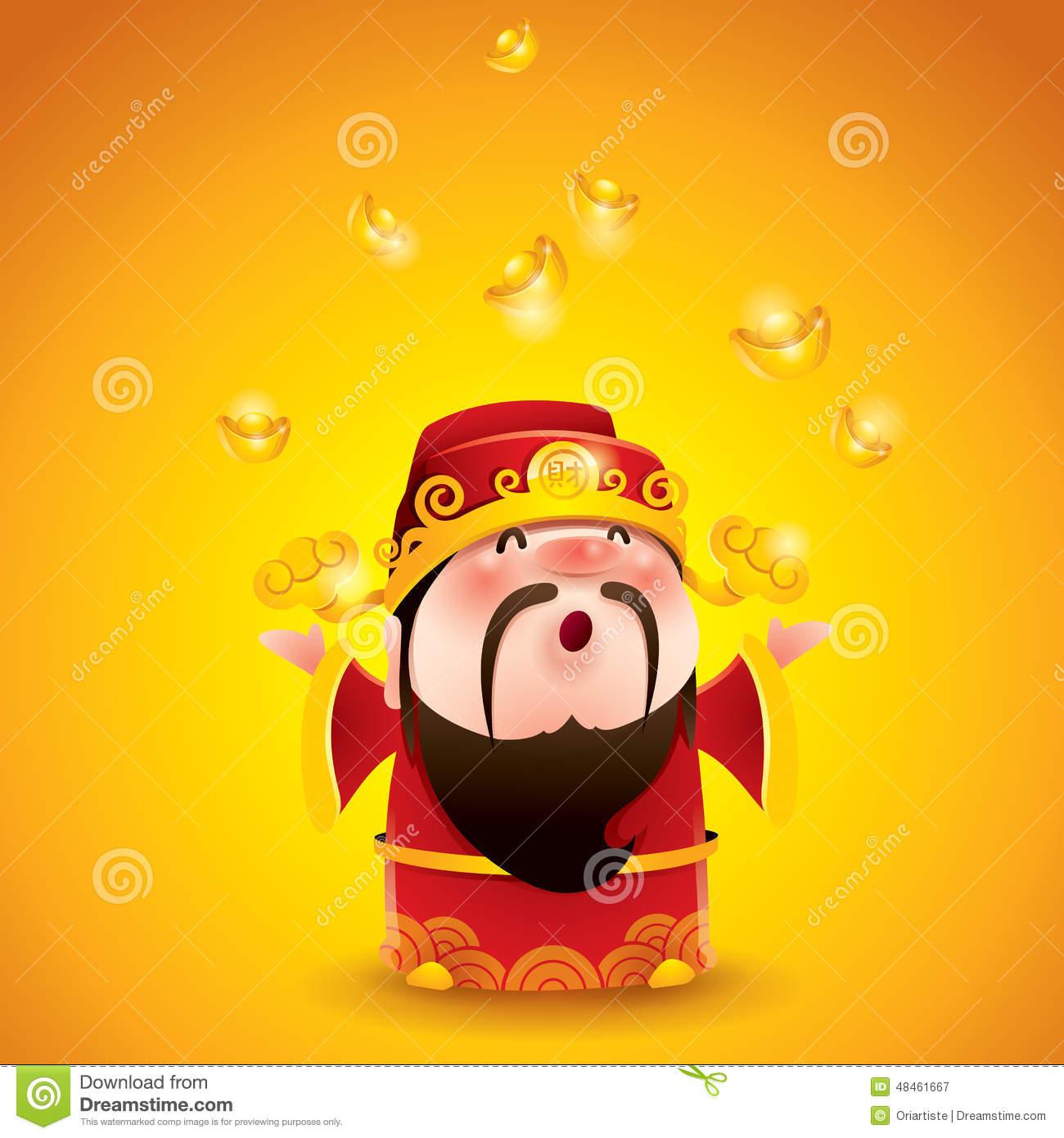 Chinese God Of Wealth. Falling Gold Bullions. Stock Illustration.