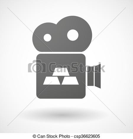 Vector Clipart of Isolated cinema camera icon with three gold.