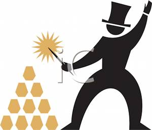 Colorful Cartoon of a Man with a Magic Wand Making Gold Bullions.