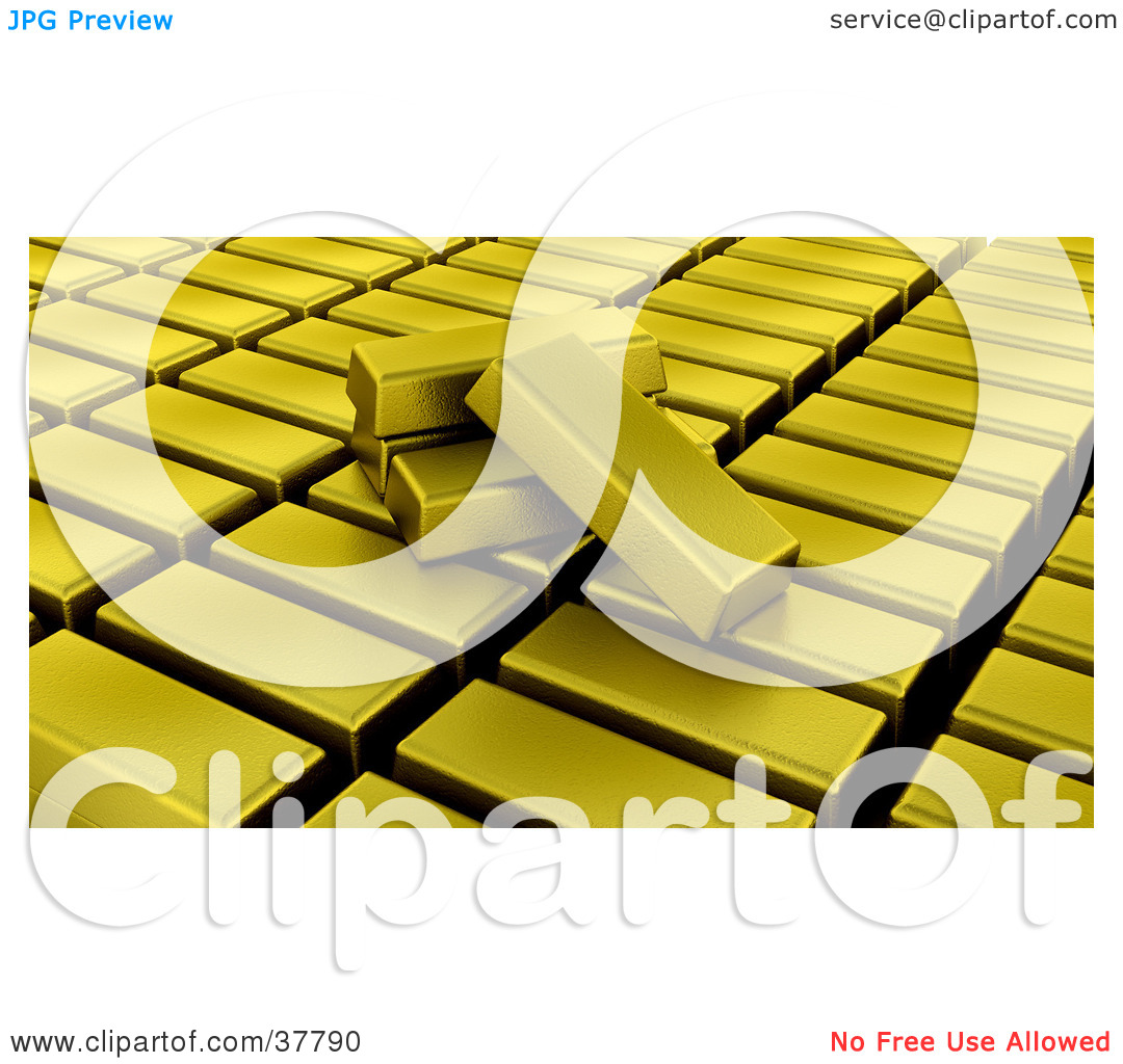 Clipart Illustration of Gold Bullion Bars Resting On Organized.
