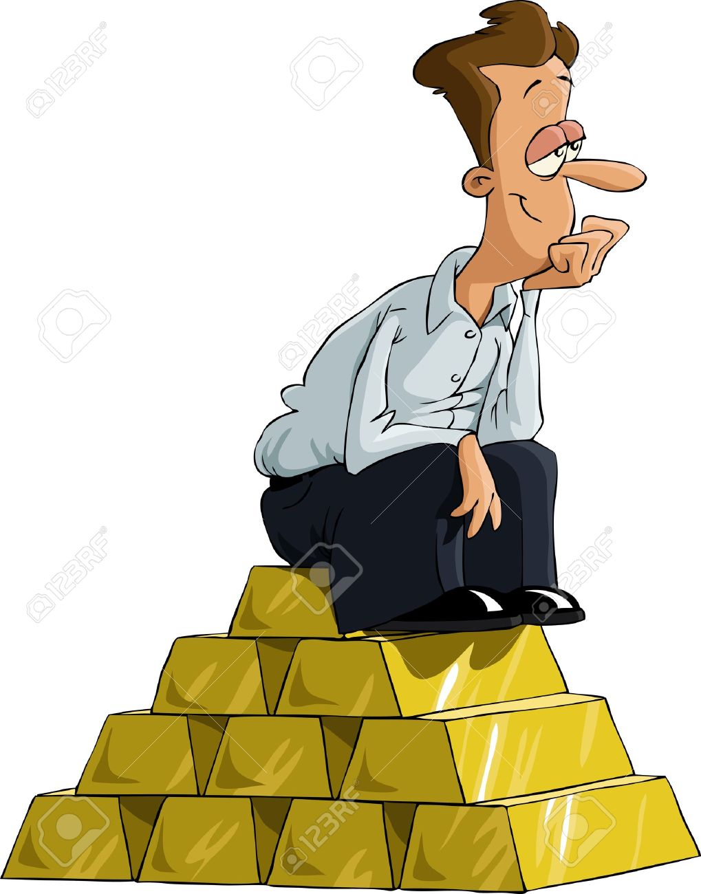 A Man Sitting On A Gold Bullion, Vector Royalty Free Cliparts.