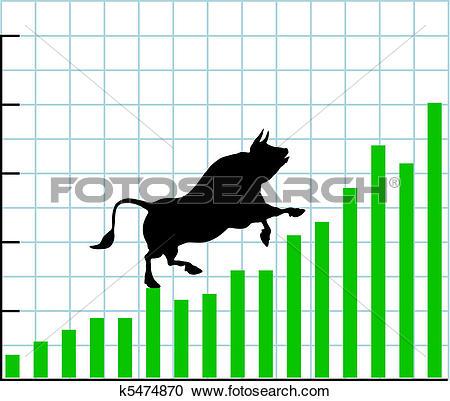 Clipart of Up bull market rise bullish stock chart graph k5474870.
