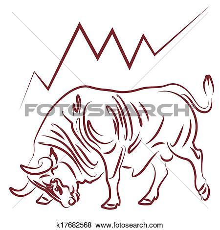 Clip Art of bull and bullish stock market trend k17682568.