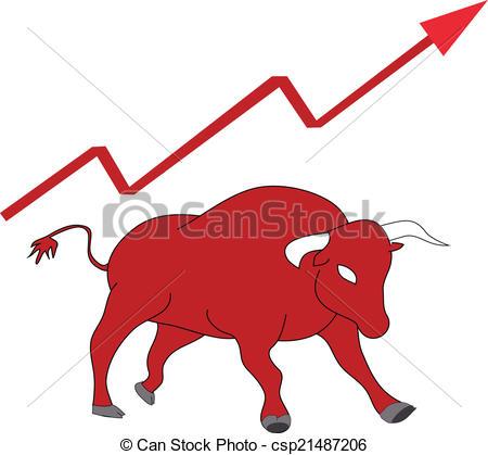 Vector Clipart of Market in Bullish. Vector Illustration.