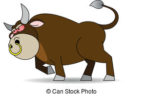 Vector Illustration of Bull With Nose Ring.