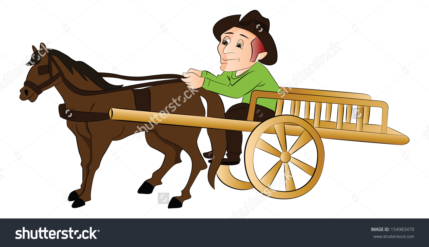 Vector Illustration Man Riding Horse Drawn Stock Vector 154983470.