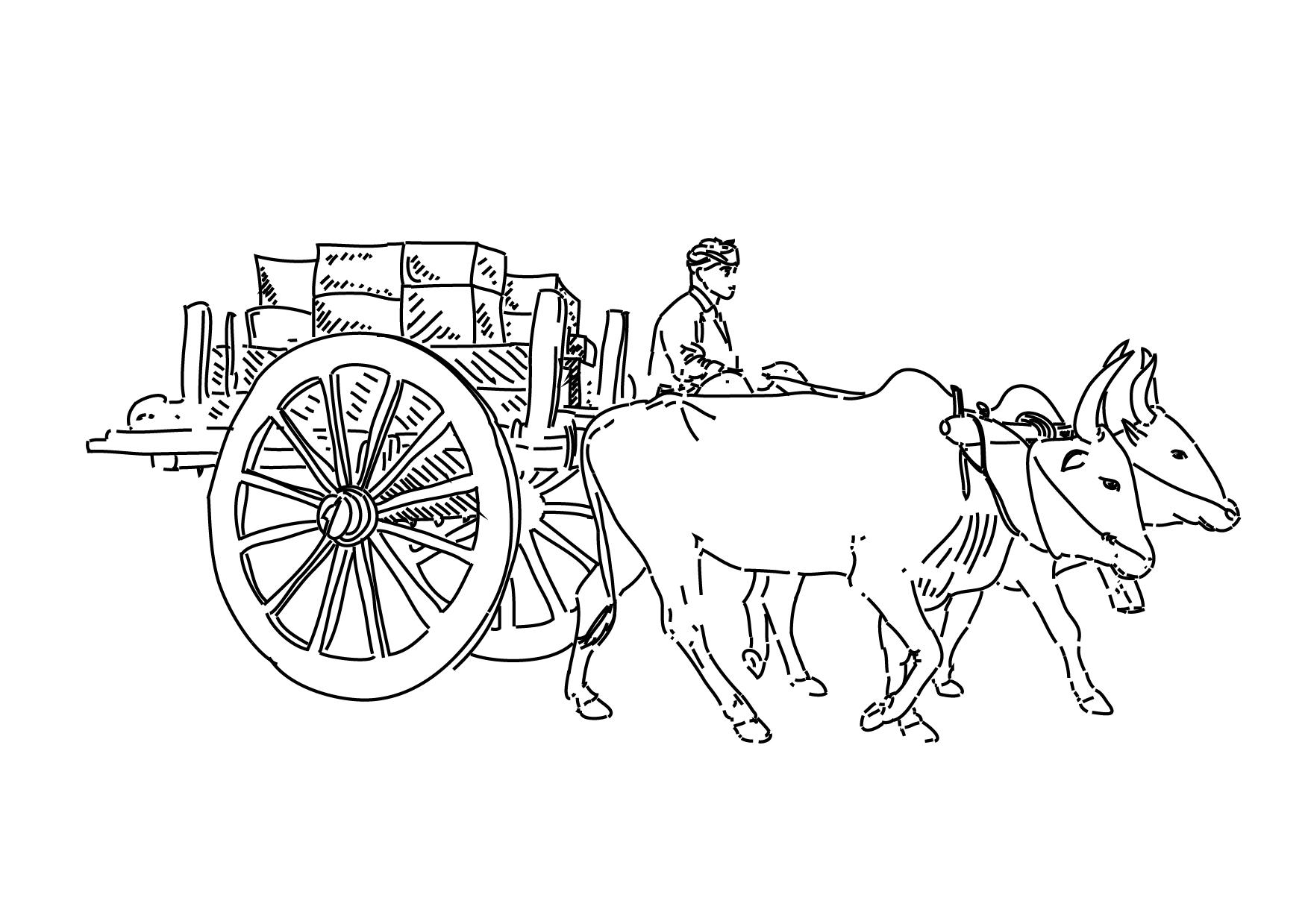 Bullock cart clipart.