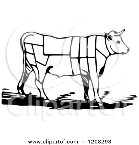 Clipart Of A Black and White Cow With Butcher Sections of Bullock.