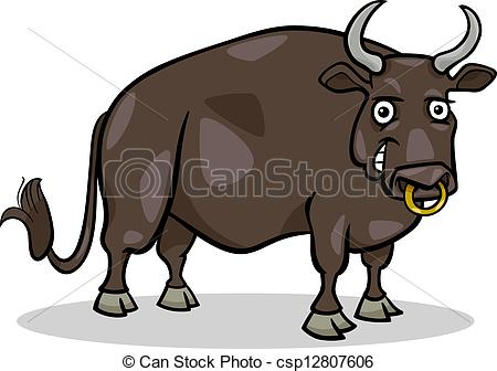 Vector Clipart of bull farm animal cartoon illustration.