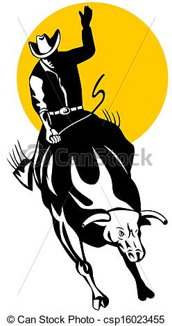 Stock Illustrations of Rodeo Cowboy Bull Riding Retro.
