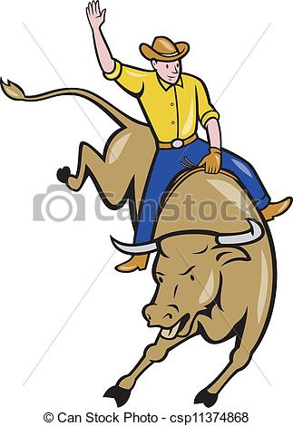 Vector Clipart of Rodeo Cowboy Bull Riding Cartoon.