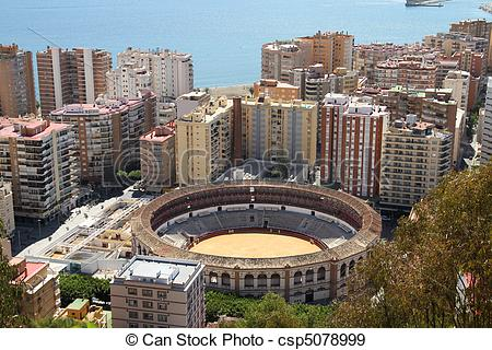 Stock Photographs of Malaga in Andalusia region of Spain. Famous.