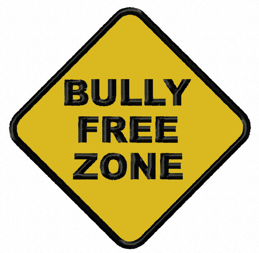 Bully Free Zone applique embroidery design Instant Download.