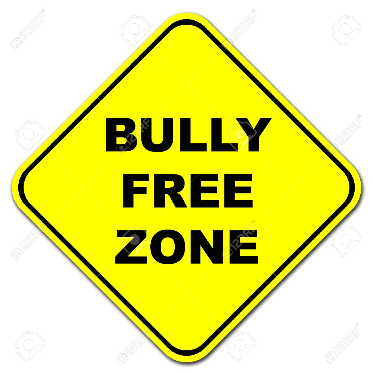 Yellow Bully Free Zone Road Sign Stock Photo, Picture And Royalty.