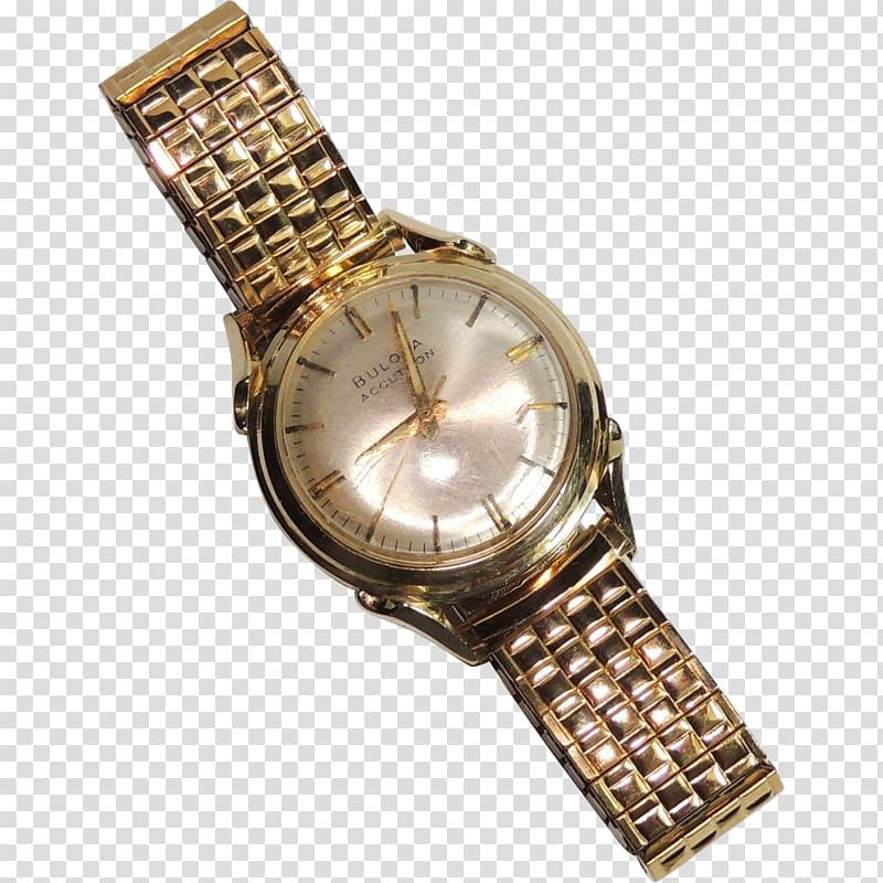 Watch strap Bulova Stimmgabeluhr Gold, watch transparent.