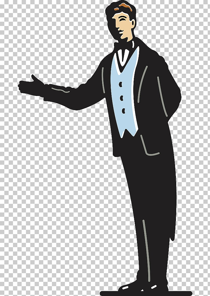Butler , Illustration illustration gesture direction PNG.