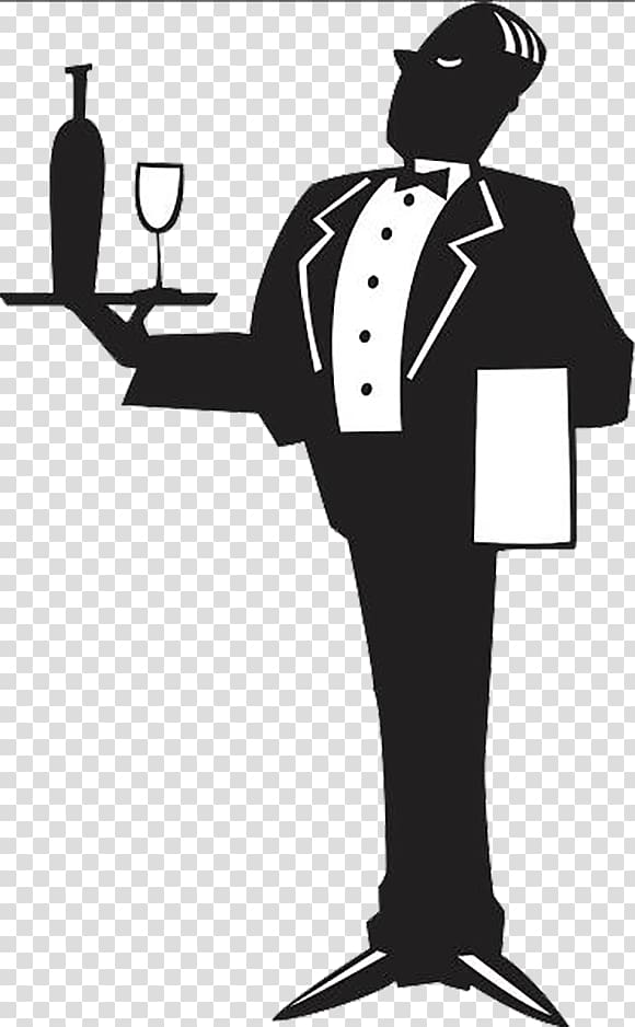 Butler Logo Tray, A servant holding a glass of wine.