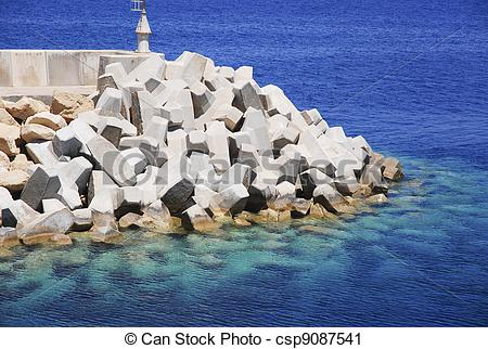 Stock Photography of Bulwark To Protect The Harbour From Wave.