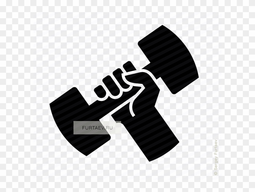 Banner Black And White Dumbbell In Hand Icon Of Lifting.