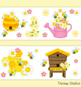 Details about Bumble Bee Nursery Baby Girl Wallpaper Border Wall Art Decals  Kids Floral Room.