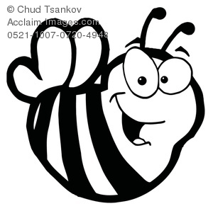 Black and White Bumble Bee Clipart Image.