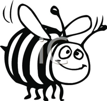 Black and White Clipart of a Bumble Bee In a Vector Clip Art.