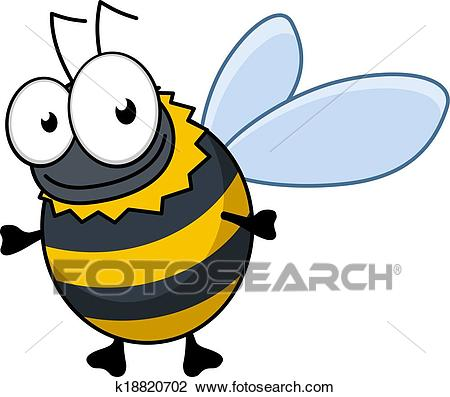 Flying cartoon bumble bee or hornet Clipart.