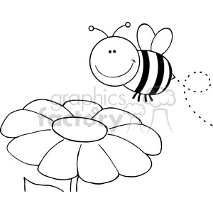 5596 Royalty Free Clip Art Smiling Bumble Bee Flying Over Flower clipart.  Royalty.