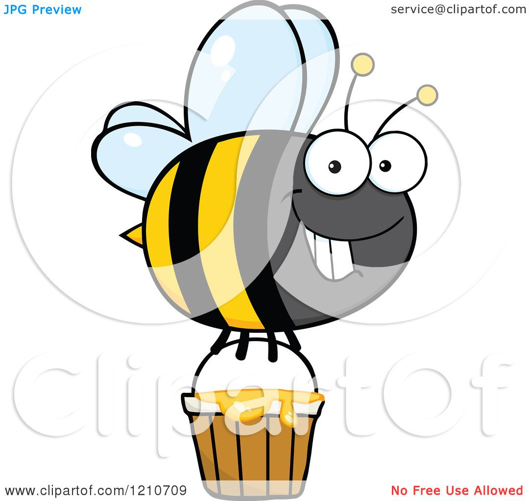 Cartoon of a Happy Bumble Bee Flying with Honey.