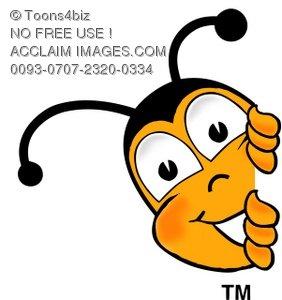 Toons4Biz Cartoon Bumble Bee or Honey Bee Peeking Around a Corner.