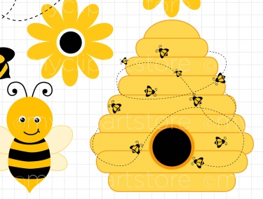 Bumble bee hive clipart.