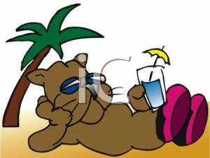 Clipart Illustration of a Cartoon Cat Lounging At the Beach.